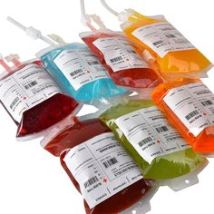 Makes a great container for party drinks as well as decorations. Beloved by Vampires all around the world      theme party drinks, blood bags, IV Bags, nurse graduation party ideas, Halloween, vampires, undead, walking dead.
