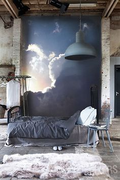 sky-filled bedroom wall