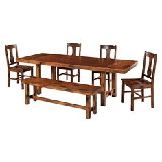 6pc Distressed Dark Oak Wood Dining Kitchen Set