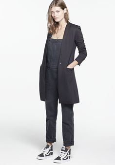 Madewell Fall 2014 catalog. Madewell zip overalls worn with blazer coat and Vans® & Madewell sk8 high-tops. #fallmadewell