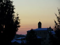 Sunset over the historical center in Mango, Piemonte (Italy)