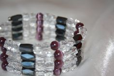 Lariat Style Wrap Bracelet/Necklace with Triple Strength Magnetic Hematite, Clear Faceted Cubes and Plum Cat's Eye Accents -- Available in my Etsy Store!!