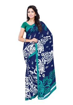 Petra Fab #Navy Blue Colored Faux Georgette #Printed Saree Here is the saree which is trendy and elegant to get an alluring and mesmerizing getup this season. It has a unique fabrication that is kimaaya for which people are crazed about. @aimdeals