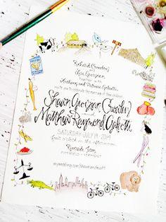 Watercolor Vermont Farm Wedding Invitations via @Oh So Beautiful Paper: http://ohsobeautifulpaper.com/2014/01/shawn-matthews-watercolor-vermont-farm-wedding-invitations/ | Design + Photo: Grey Snail Press #watercolor #wedding