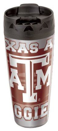 NCAA Texas A&M Aggies 16-Ounce Travel Mug by WinCraft. $12.79. Made in the USA. Sealable slide top opening. Contour shape with skid resistant bottom. 16oz.Double wall insulated and sweat proof.. Features team and player graphics.. Double wall plastic 16-Ounce travel mug with a sealable flip top cover. Top shelf dishwasher safe. Made in the USA.