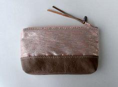 OOAK Zipper pouch, clutch, peach silk and leather