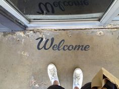 """A painted Welcome Mat Perhaps? """"Welcome"""" signpainting - Stag, Austin"""