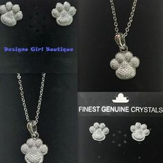Crystal Heart Paw Print Necklace Earrings Set Silver Dog Cat Dainty  #Unbranded #Pendant