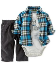 Carter's Baby Boys' 3-Piece Button-Up, Pants and Bodysuit Set