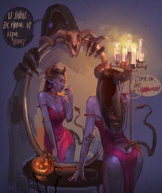 Halloween by Tianjun Wang Fantasy Art Women, Dark Fantasy Art, Fantasy Girl, Dark Art, Fantasy Witch, Fantasy Warrior, Medusa Art, Cute Monsters, Fantasy Paintings