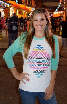 Wonderful colors, same amazing Crazy Train quality and style, this southwest aztec symbol serape style baseball shirt is perfect all around! This tee is a woman's cut..please order a size up if you pr