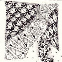 Ein Zentangle aus den Mustern Graancirkels, Banderole, Caviar,  gezeichnet von Ela Rieger, CZT
