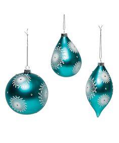 Teal Snowflake Ornaments - Set of Three