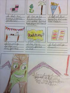 Vakantieverhaal- groep 3/4 - de kinderen schrijven aan de hand van verschillende tekeningen over hun belevenissen in de vakantie