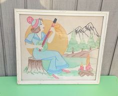 Vintage Banjo Girl Embroidered Artwork by theindustrycottage on Etsy