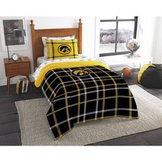 5 Piece NCAA COL Iowa Hawkeyes Iowa City Twin Comforter Set, Yellow Black, Sports Patterned Bedding, Featuring Team Logo, Iowa Merchandise, Team Spirit, College Football Themed, Polyester Material //Price: $71.29 & FREE Shipping //     #hashtag3
