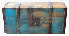 19th Century Painted Wedding Trunk