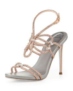 Crystal High-Heel Ankle-Wrap Sandal, Rose Gold/Silver by Rene Caovilla at Neiman Marcus.