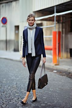 Karlie Kloss wearing a navy blazer + cropped leather pants // model-off-duty
