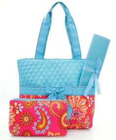 Oh Paisley Diaper Bag Set in Raspberry on Turquoise
