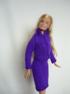 Items similar to Hand Knitted Suit and Hat in Rich Purple for Teenage Doll (Barbie) - Ready to Ship on Etsy Short Scarves, Neck Scarves, Tie Styles, Knit Shorts, Neck Warmer, Hand Knitting, Barbie, High Neck Dress, Suits