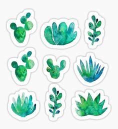'Watercolor Succulents' Sticker by Anna Alekseeva Cartoon Stickers, Tumblr Stickers, Phone Stickers, Journal Stickers, Planner Stickers, Homemade Stickers, Diy Stickers, Printable Stickers, Watercolor Succulents