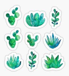 Pegatina Watercolor Succulents