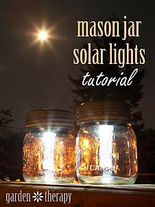Mason Jar Solar Lights Using just three materials and a wee bit of time you will quickly have stylish mason jars to light up the garden or pati...#/604833/mason-jar-solar-lights?&_suid=136090154607002988803237529683