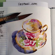 When I give away I have to do one for my record. This is pure play! #lizsteel #tea #teacups #sketchingnow