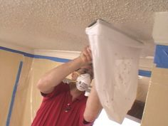 "Removing a ""popcorn"" ceiling... my next project since Scott gave up on the fireplace room renovation"
