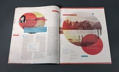 Publication design for Words By The Water Festival with round droplets of color throughout
