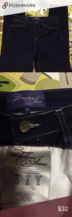 Not Your Daughters skinny jeans Size 4 Great looking dark wash skinny jeans. Waist measures 14 inches across and the inseam is 30 inches long. NYDJ Jeans Skinny
