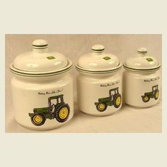 Vintage John Deere Ceramic Canister Set Of 6 Pieces By
