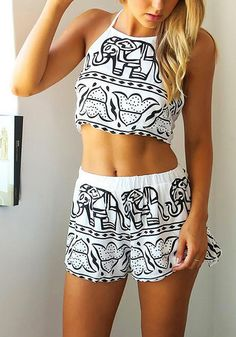Elephant print shorts co-ord set has halter crop top with self-tie straps at the neck and back. | Lookbook Store Co-ords