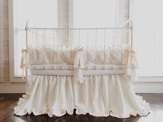Cinderella Ruffled Washed Cotton Crib Bedding By Highcottontextile