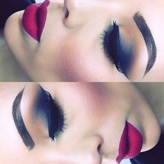 Love the idea of blue in the eye make-up! And then a maroon/wine color on the lips. Hairstylist and makeup artist! Eye Makeup, Kiss Makeup, Flawless Makeup, Gorgeous Makeup, Pretty Makeup, Beauty Makeup, Hair Makeup, Makeup Goals, Makeup Inspo