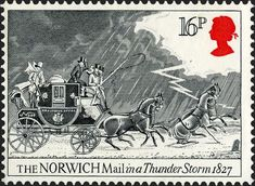 UK Postage Stamp_Bicentenary of First Mail Coach Run Postage Stamps Uk, Uk Stamps, Going Postal, Horse Carriage, Vintage Stamps, Royal Mail, Penny Black, Stamp Collecting, Mail Art