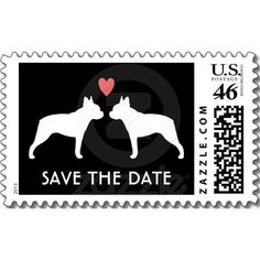 Boston Terriers Wedding Save the Date Postage Stamps $23.95 Can I get this in pug?