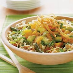 Chinese Chicken Salad - Great recipe!! I replaced asparagus with snap peas, used 50/50 cabbage and lettuce, used mandarin oranges and added cashews.  Dressing is amazing!