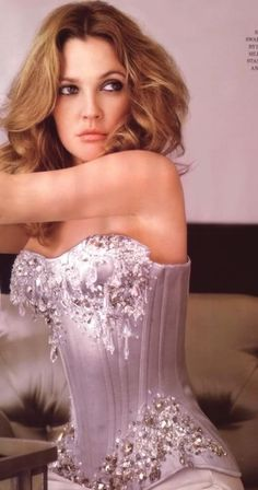 Drew Barrymore ELLE magazine Photo Mark Seliger. Beautifully smooth corsetry and use of embellishment.