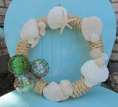 Coastal Wreath with Seashells and Glass Floats by HomeSweetCoast, $40.00