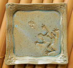 Appetizer plate with frog and dragonflies. What fun...  pottery by Tipsy Mermaid Art.