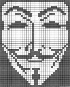 Guy Fawkes mask perler bead pattern