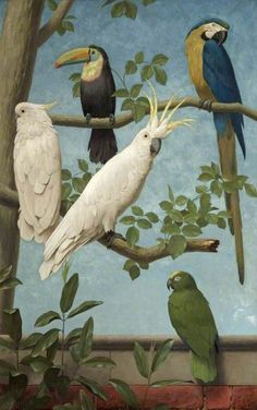 Henry Stacy Marks (1829-1898) –– Cockatoos, Toucan, Macaw and a Parrot,1889 (429x685)