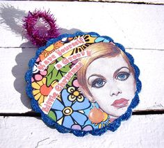 Have Yourself a Groovy Little Christmas - British Model Twiggy - Hand Made Collage OOAK Christmas Ornament. $8.00, via Etsy.