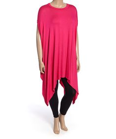 Another great find on #zulily! Fuchsia Cape-Sleeve Tunic - Plus by La Ropas #zulilyfinds