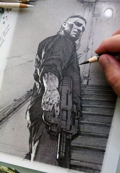 Mike's newest posts, paintings, sketches, concept art, and drawings Comic Book Artists, Comic Book Characters, Comic Books Art, Comic Art, Punisher Characters, The Punisher, Punisher Tattoo, Batman Tattoo, Marvel Art