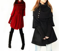 Little Red Hood - cashmere coat and neck warmer set (Y1229). $145.00, via Etsy.