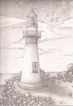 The Lighthouse by SonicBornAgain on DeviantArt – Pencil Drawing Lighthouse Sketch, Lighthouse Pictures, Lighthouse Art, Pencil Drawing Tutorials, Pencil Art Drawings, Cool Drawings, Drawing Sketches, Drawing Ideas, Stippling Art