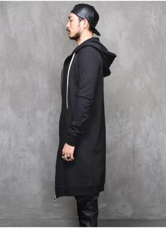 Mens Goth Dark Extended Long Zip-up Jersey Hoodie at Fabrixquare ...